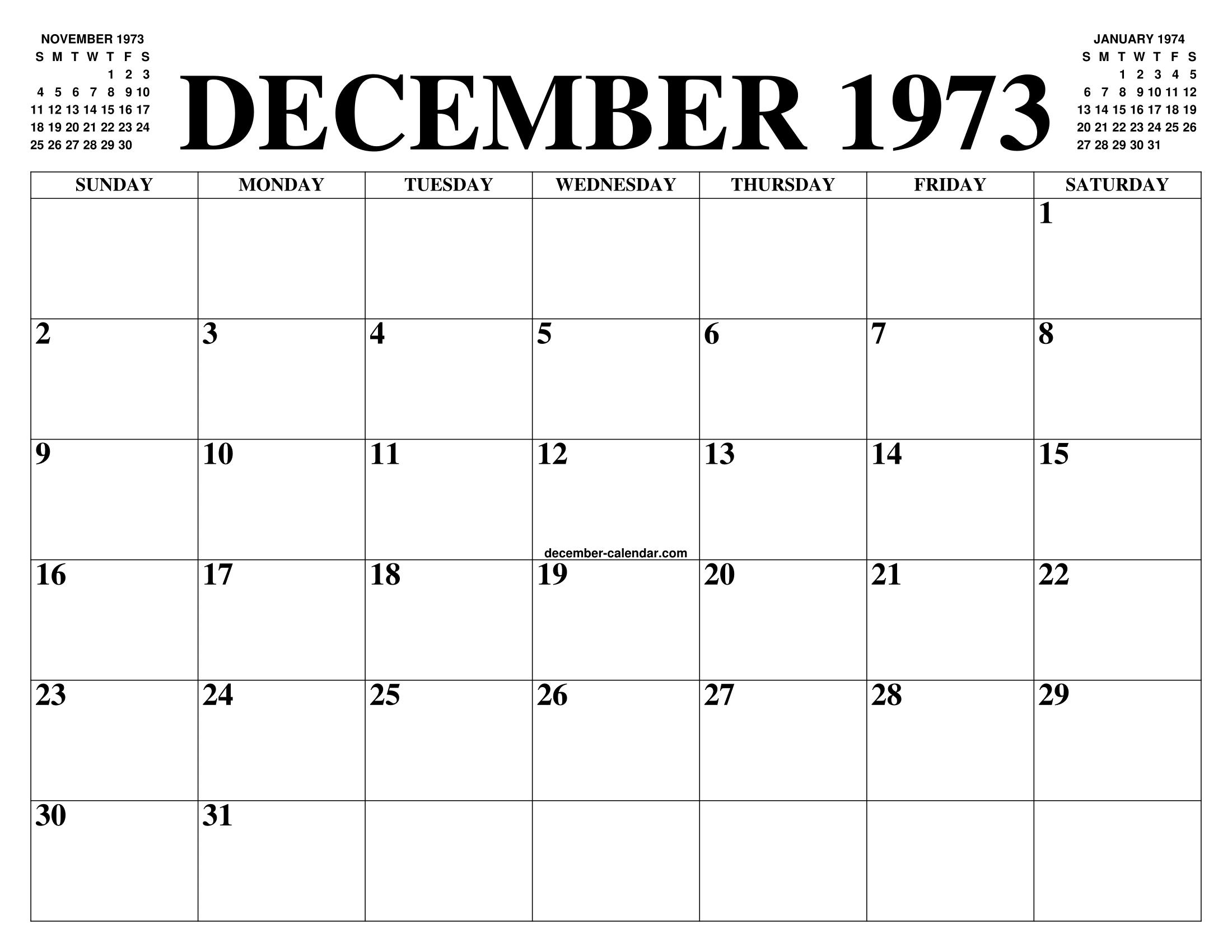 Calendario 1973.December 1973 Calendar Of The Month Free Printable December