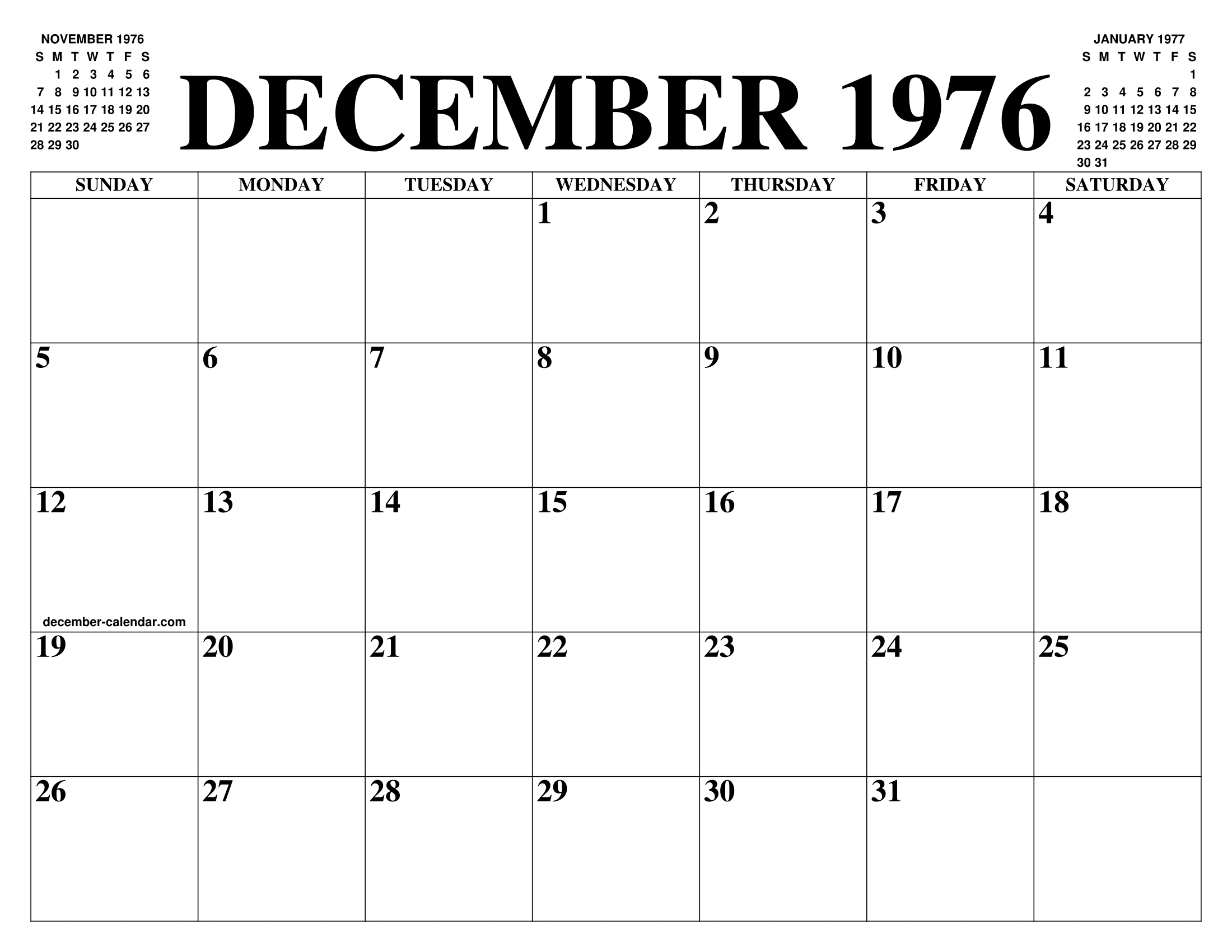 Calendario 1976.December 1976 Calendar Of The Month Free Printable December