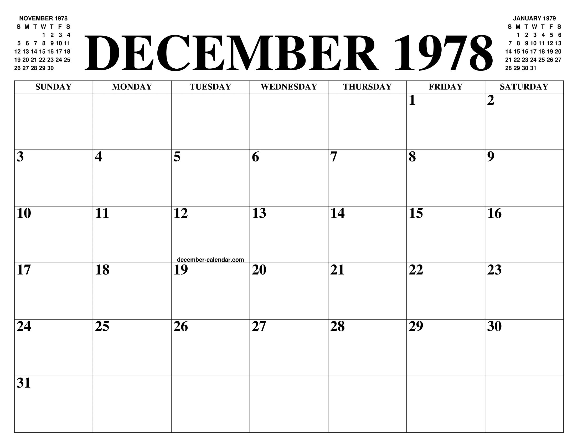 Calendario 1978.December 1978 Calendar Of The Month Free Printable December