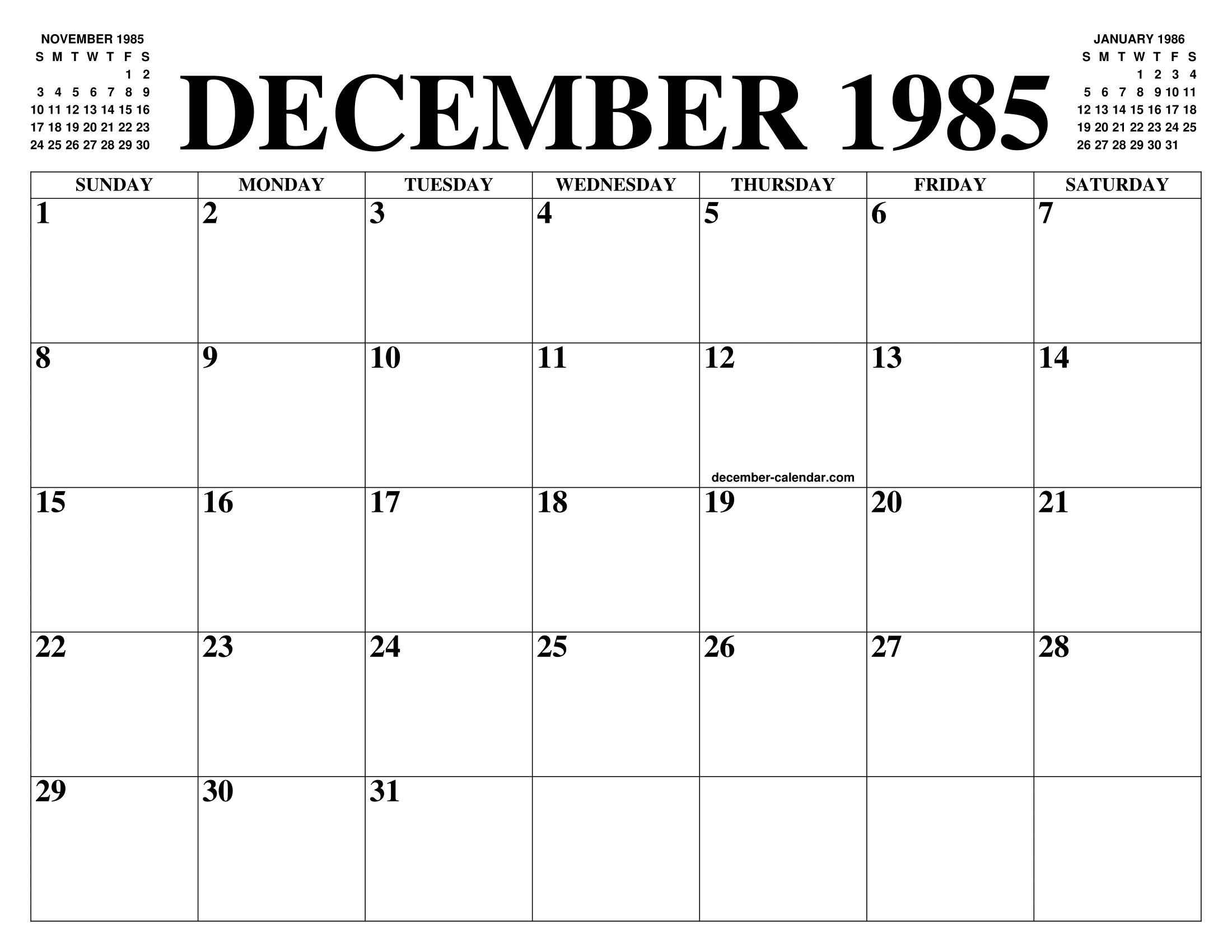 1985 Calendar.December 1985 Calendar Of The Month Free Printable December