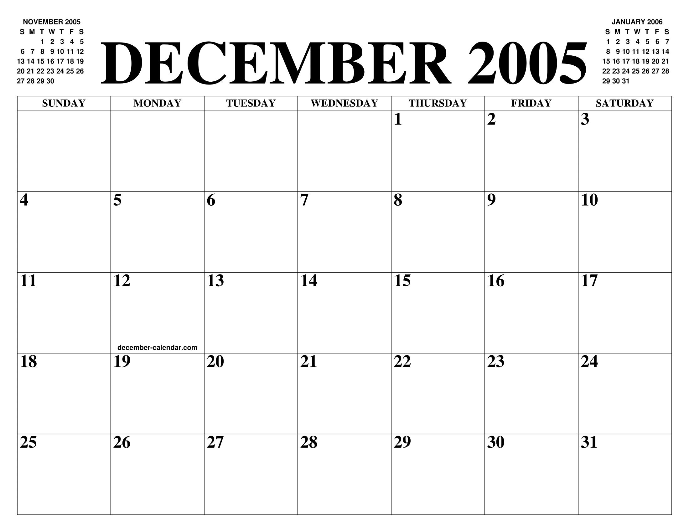 December 2005 Calendar Of The Month Free Printable December
