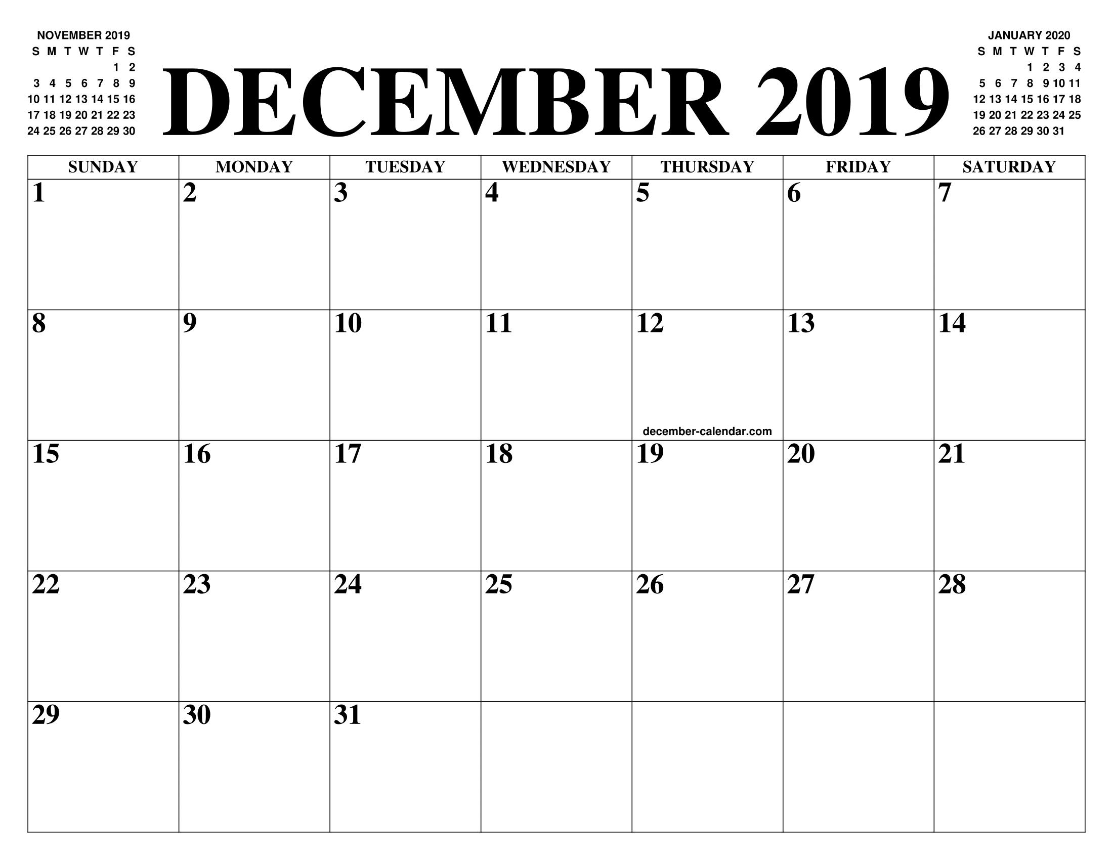 Calendar December 2019 January 2020.December 2019 2020 Calendar Of The Month Free Printable December