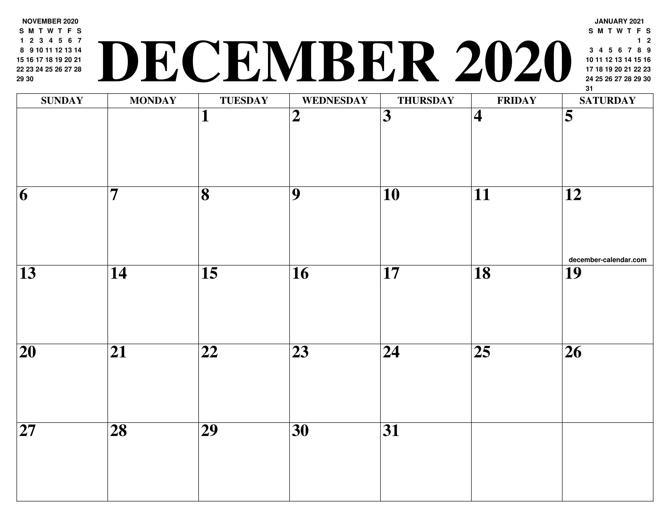 Calendar December 2020.December 2020 Calendar Of The Month Free Printable December