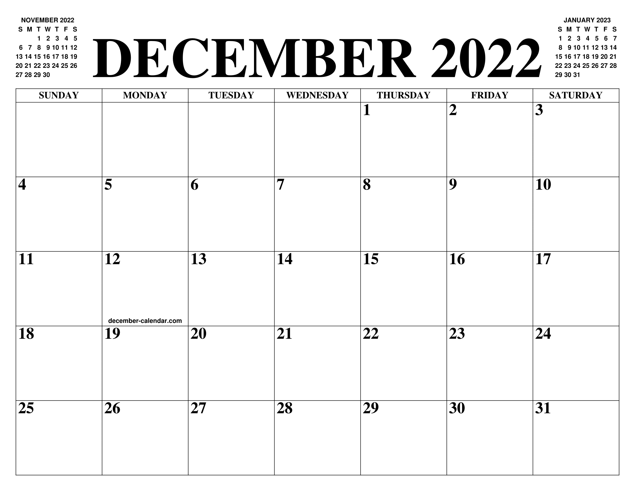 December 2023 And January 2022 Calendar.December 2022 Calendar Of The Month Free Printable December Calendar Of The Year Agenda